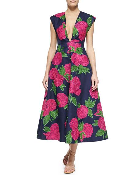 Geranium-Print Deep V-Neck Back-Pleated Dress, Indigo