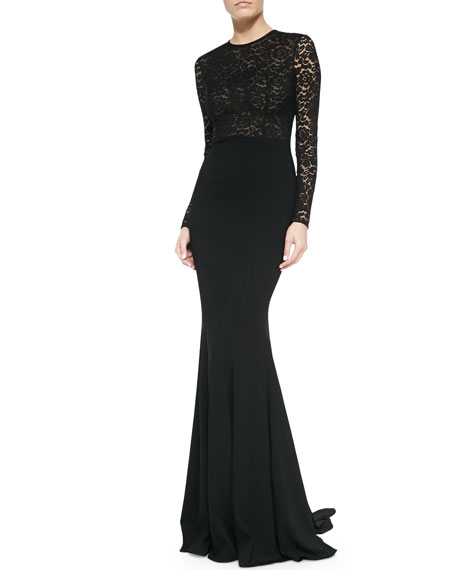 Michael Kors Lace Illusion Mermaid Gown, Black