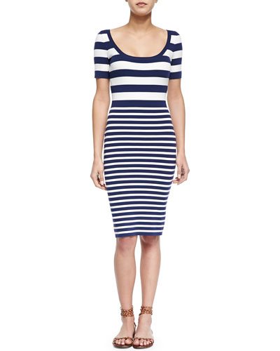 Mixed-Stripe Short-Sleeve Sheath Dress, Indigo/White