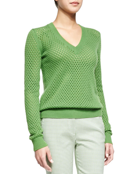 Michael Kors Cashmere-Blend Pointelle V-Neck Sweater, Lawn