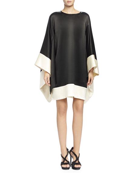 Alexander McQueen Colorblock Kimono-Sleeve Dress, Black/Bone