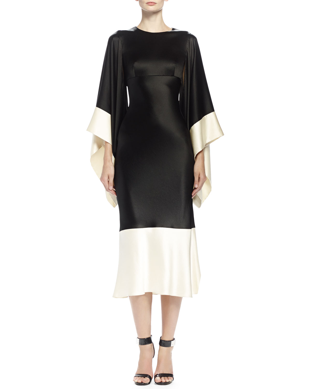 b588074f3cfc Alexander McQueen Colorblock Kimono-Sleeve Midi Dress, Black/Bone ...