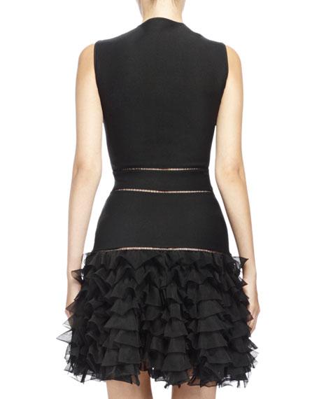 Sleeveless Ruffle Bottom Mini Dress Black