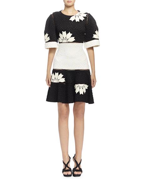 Alexander McQueen Two-Tone Floral-Print Matelasse Dress, Black/Bone