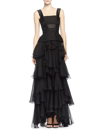 Alexander McQueen Jacquard-Inset Ruffle-Tiered Gown, Black