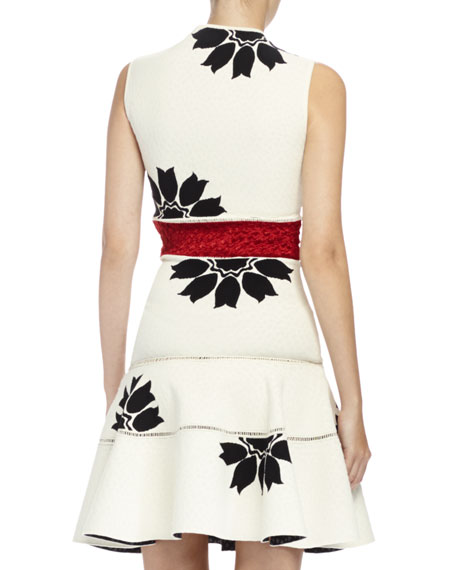 Floral Jacquard Mini Dress, Bone/Black/Red