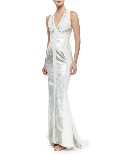 Silk V-Neck Paneled Gown, Aluminum/Ivoire