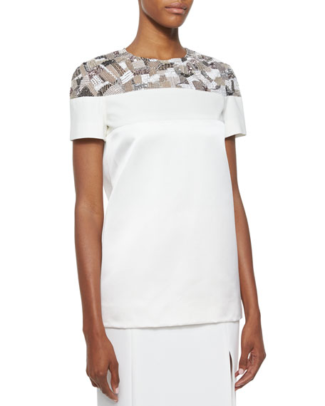 J. Mendel Short-Sleeve Embroidered Scuba Tee