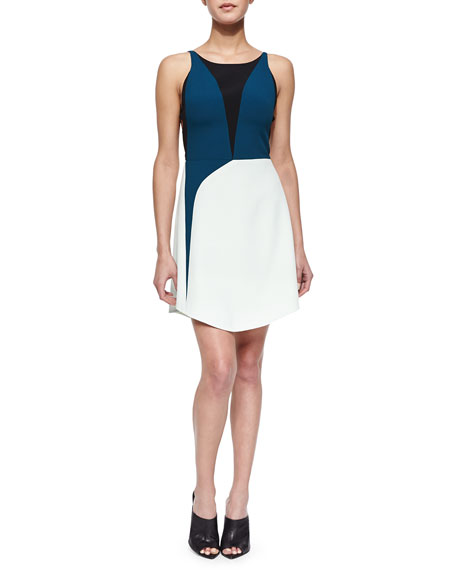 Narciso Rodriguez Tricolor Harness-Back Dress, Green Multi