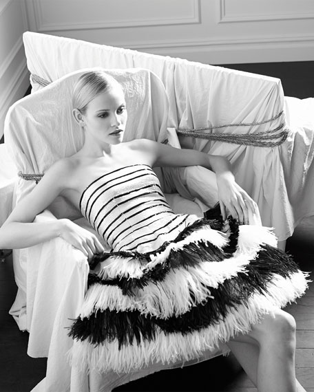 Oscar de la Renta Striped Sequined Feather-Tiered Fit-And-Flare Dress, Black/White