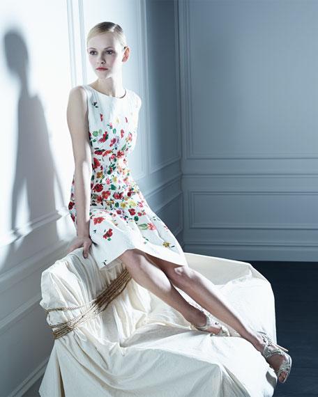 Oscar de la Renta Floral-Print Darted A-Line Dress