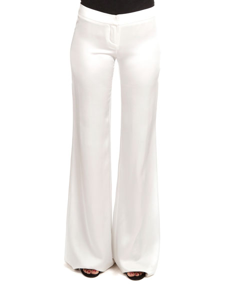 Balmain Flat-Front Flared Sateen Pants