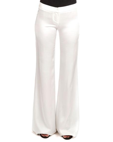 Balmain Flat-Front Flared Sateen Pants