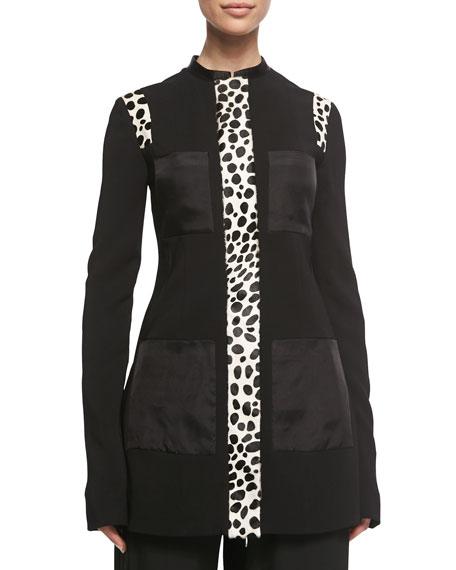 Edun Spotted Calf Hair-Inset Jacket, Black