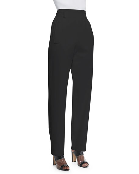 Edun High-Waisted Tuxedo Pants, Black