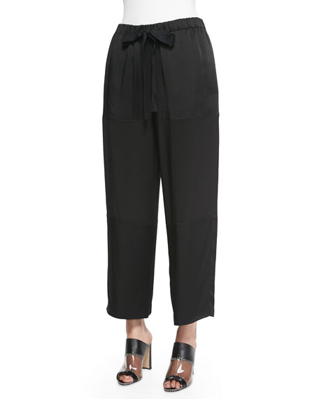 Edun Pebble-Crepe Cropped Judo Pants, Black