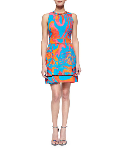 Abstract Floral Brocade Mesh-Inset Dress