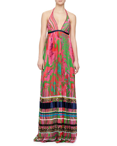 Mixed-Print Striped Plisse Gown