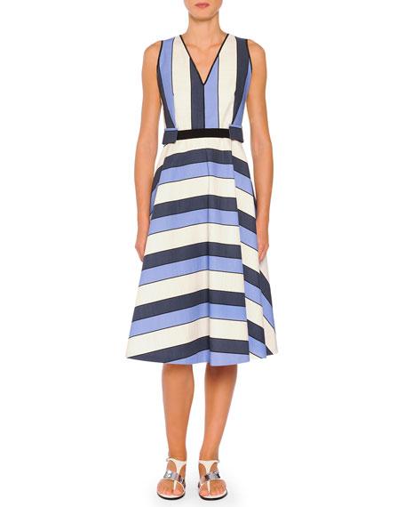 Piazza Sempione Belted Striped A-Line Dress, Blue Stripes