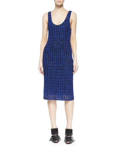 Sleeveless Open Crochet Tank Dress, Cobalt/Black