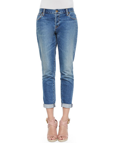 Relaxed-Fit Cuffed Ankle Jeans, Indigo