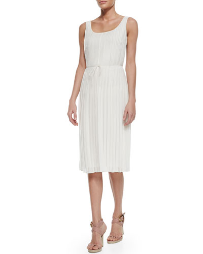 Sleeveless Pleated Dress, Parchment