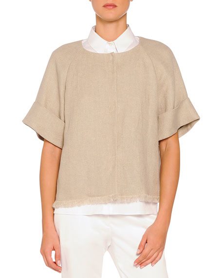 Piazza Sempione Short-Sleeve Fringe-Trimmed Jacket, Taupe
