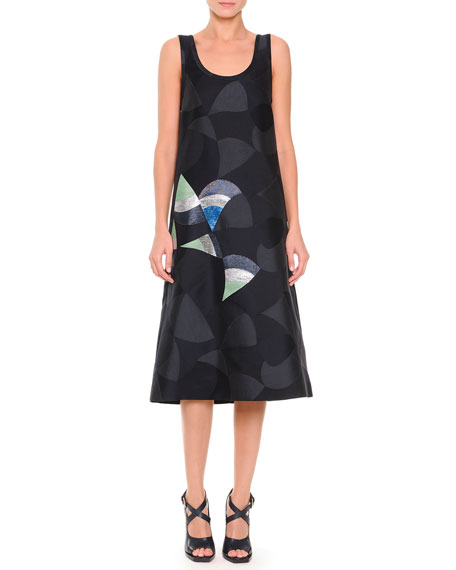 Jil Sander Metallic Fan-Detailed Jacquard Tank Dress