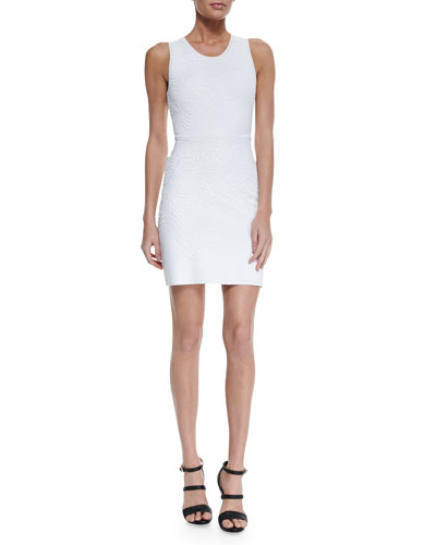 Swirl Knit Jacquard Sheath Dress, White