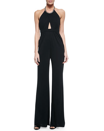 Cutout Jeweled Halter Jumpsuit, Black