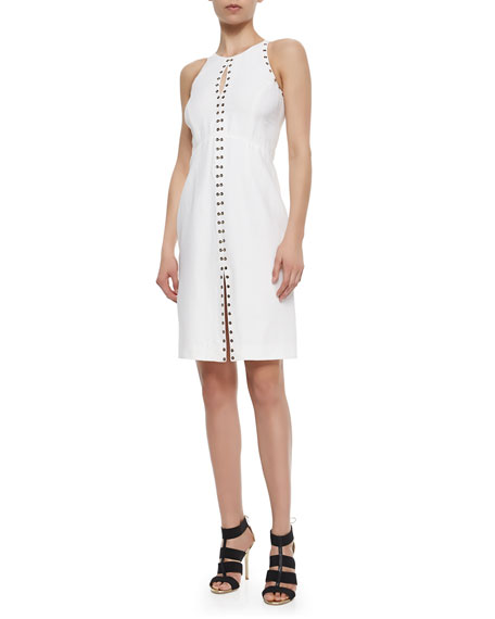 Roberto Cavalli Grommet-Trimmed Keyhole Dress, White