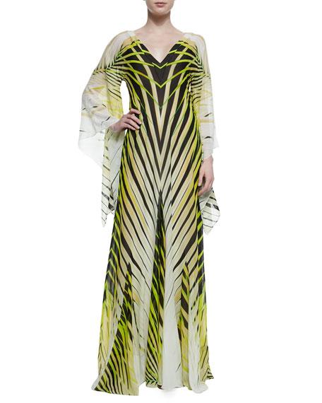 Roberto Cavalli Palm-Print Kimono-Sleeve Caftan Gown