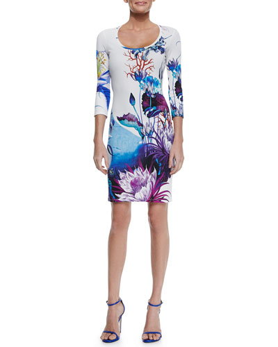 Ari Floral-Print Jersey Dress, White/Blue