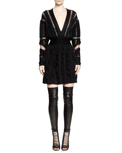 Deep V-Neck Eyelet Trim Dress, Black