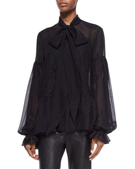 Givenchy Scarf-Neck Chantilly Lace-Inset Blouse