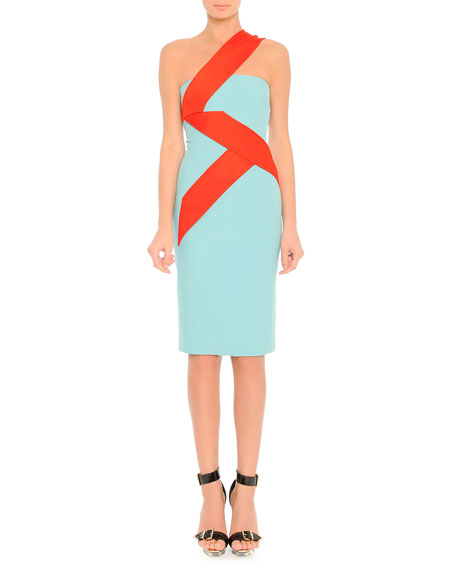 Versace One-Shoulder Colorblock Zigzag Dress, Air Blue/Red