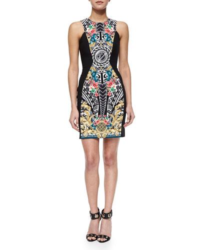 Ornate-Print Cut-In Sheath Dress