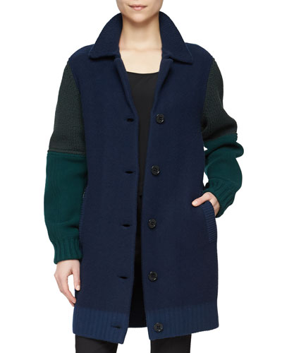 Multi-Gauge Bicolor Coat, Dark Navy