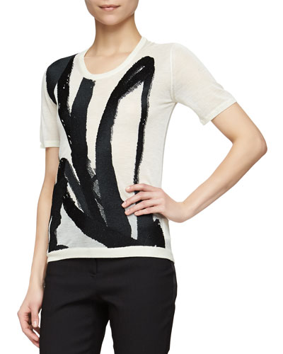 Brushstroke-Embroidered Slub-Knit Tee, Natural White/Black