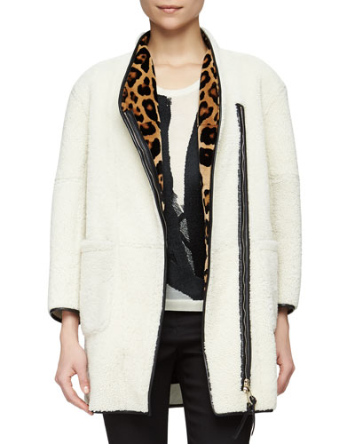 Leopard-Print Lined Shearling Fur Coat, White