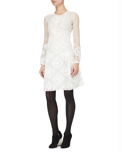 Floral-Embroidered Chiffon Dress, White