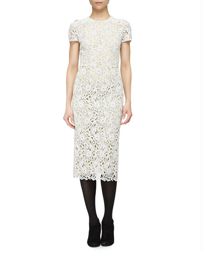 Short-Sleeve Floral Lace Midi Dress, White