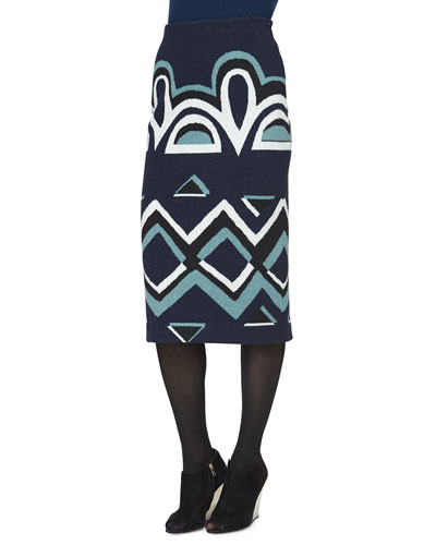 Needlepunch Geometric-Print Wool Skirt, Navy