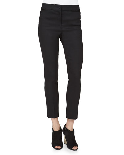 Pencil-Leg Satin-Trimmed Pants, Black