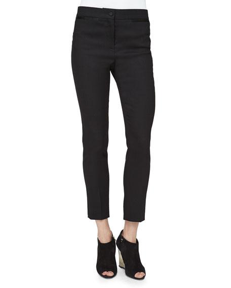 Burberry Prorsum Pencil-Leg Satin-Trimmed Pants, Black