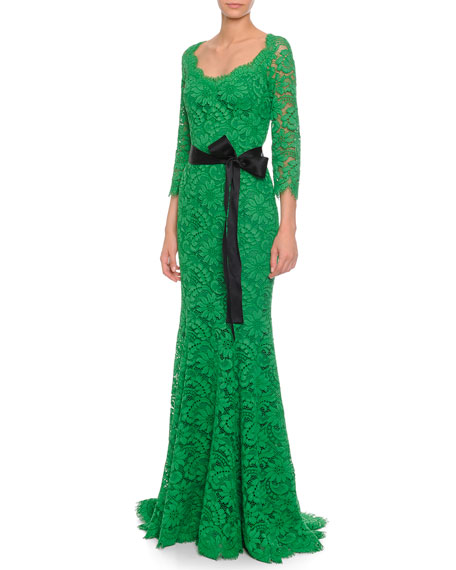 Fringed Floral-Lace Godet Gown, Green