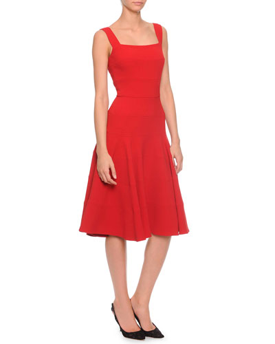 Panel-Tiered Flounce Dress, Red