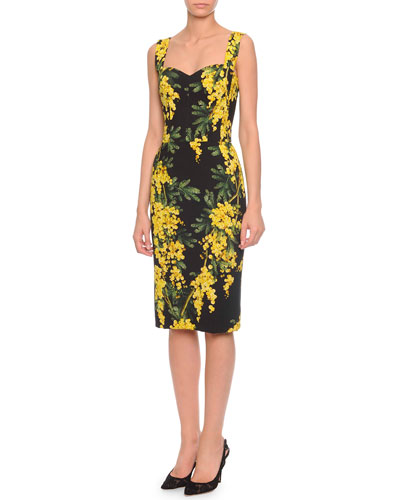 Blossom-Print Below-The-Knee Dress, Black/Yellow