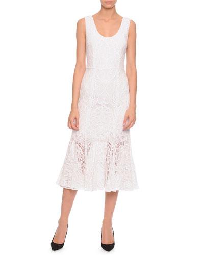 Lace Flounce-Skirt Tank Dress, White