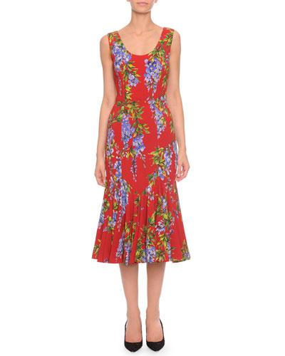 Floral-Print Flounce-Skirt Tank Dress, Red Multi